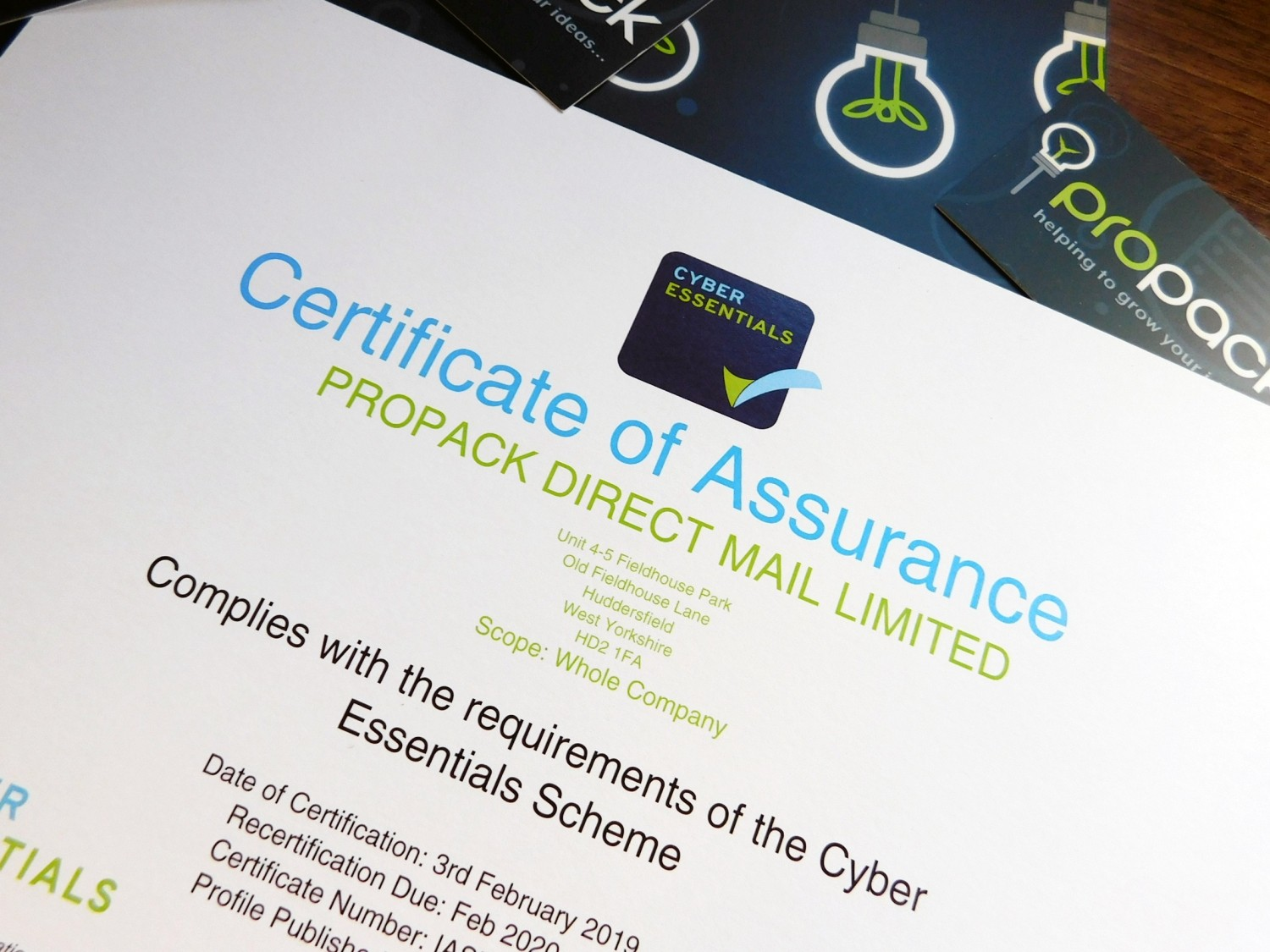 Success in 'Cyber Essentials' Award for Propack!